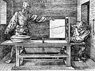 Гравюра 1525 года, показывающая приспособление, разработанное немецким художником для черчения и изучения перспективы.