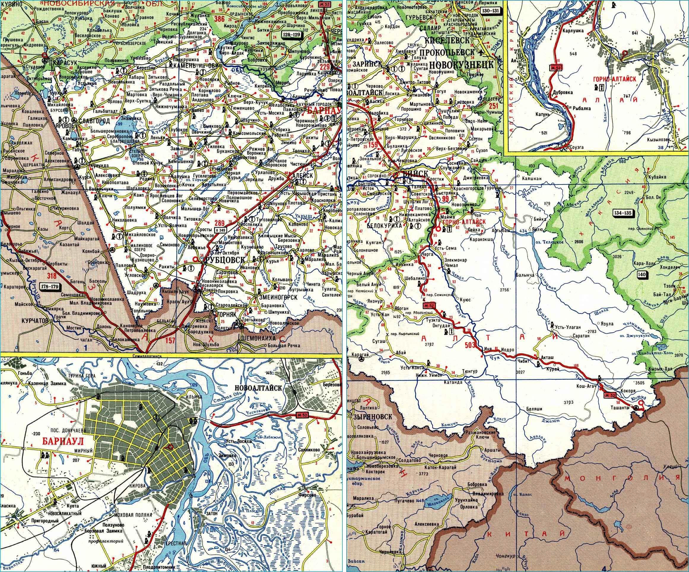 Карта автодорог республики Алтай