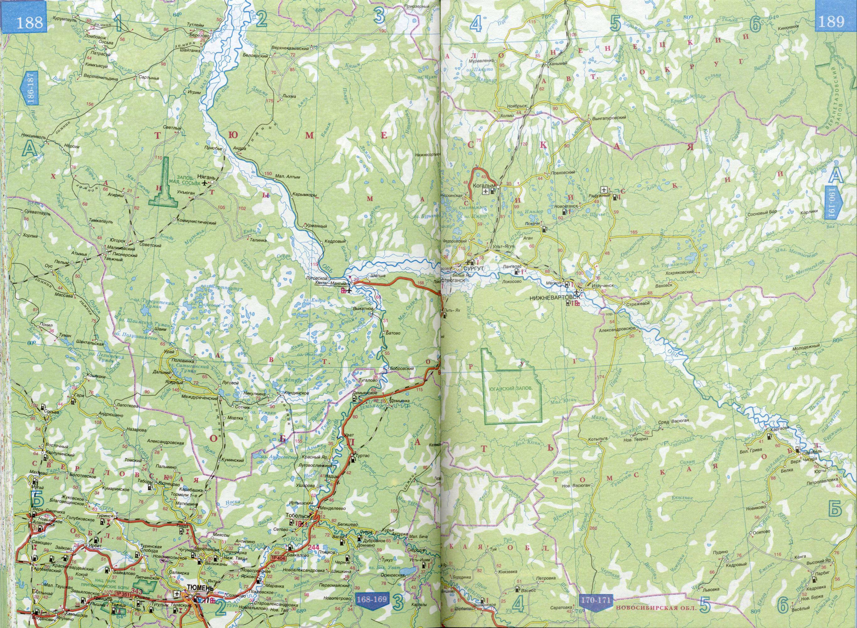 Карта автодорог Ханты-Мансийского автономного округа - Югра