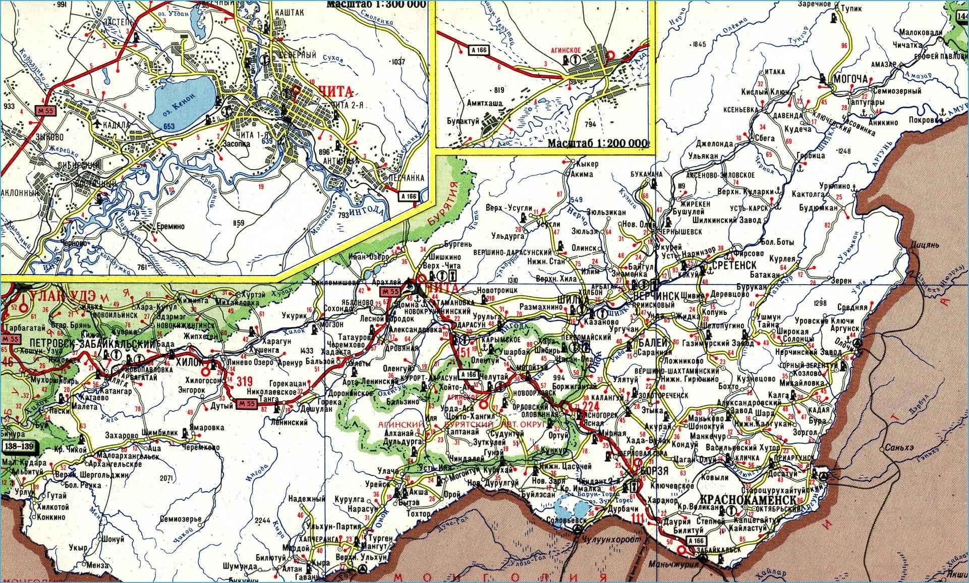 Карта автодорог Забайкальского края