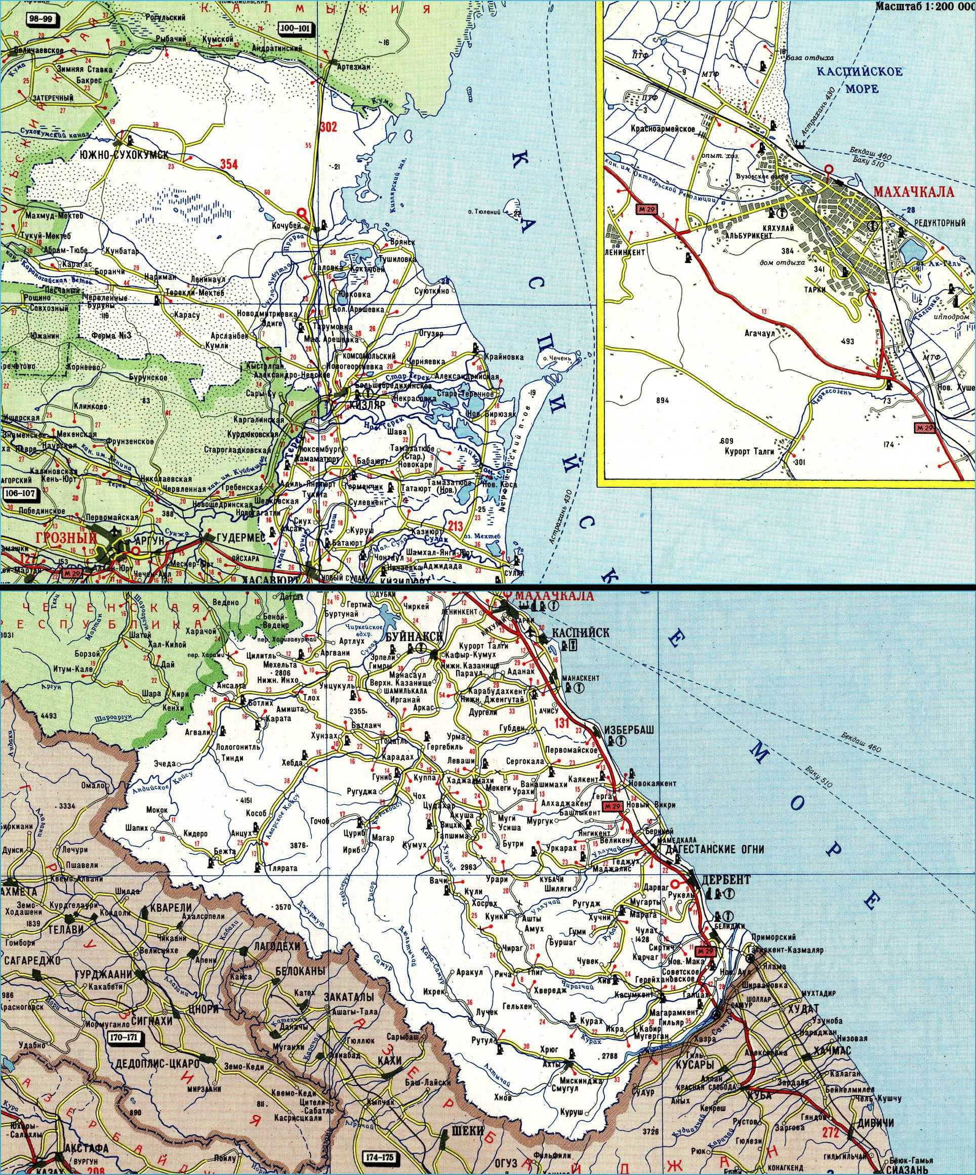 Карта автодорог Республики Дагестан