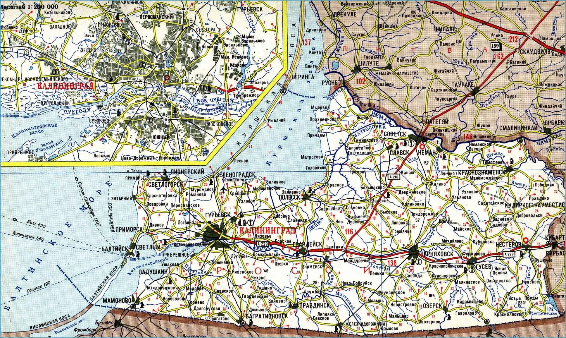 Карта автодорог Калининградской области