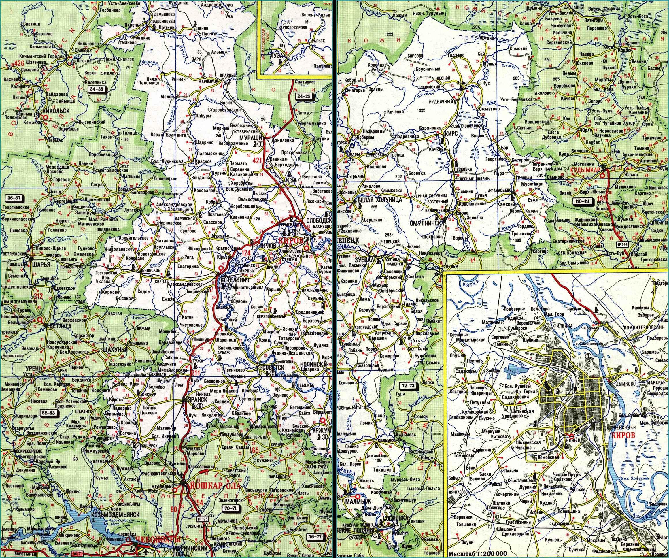 Карта автодорог Кировской области