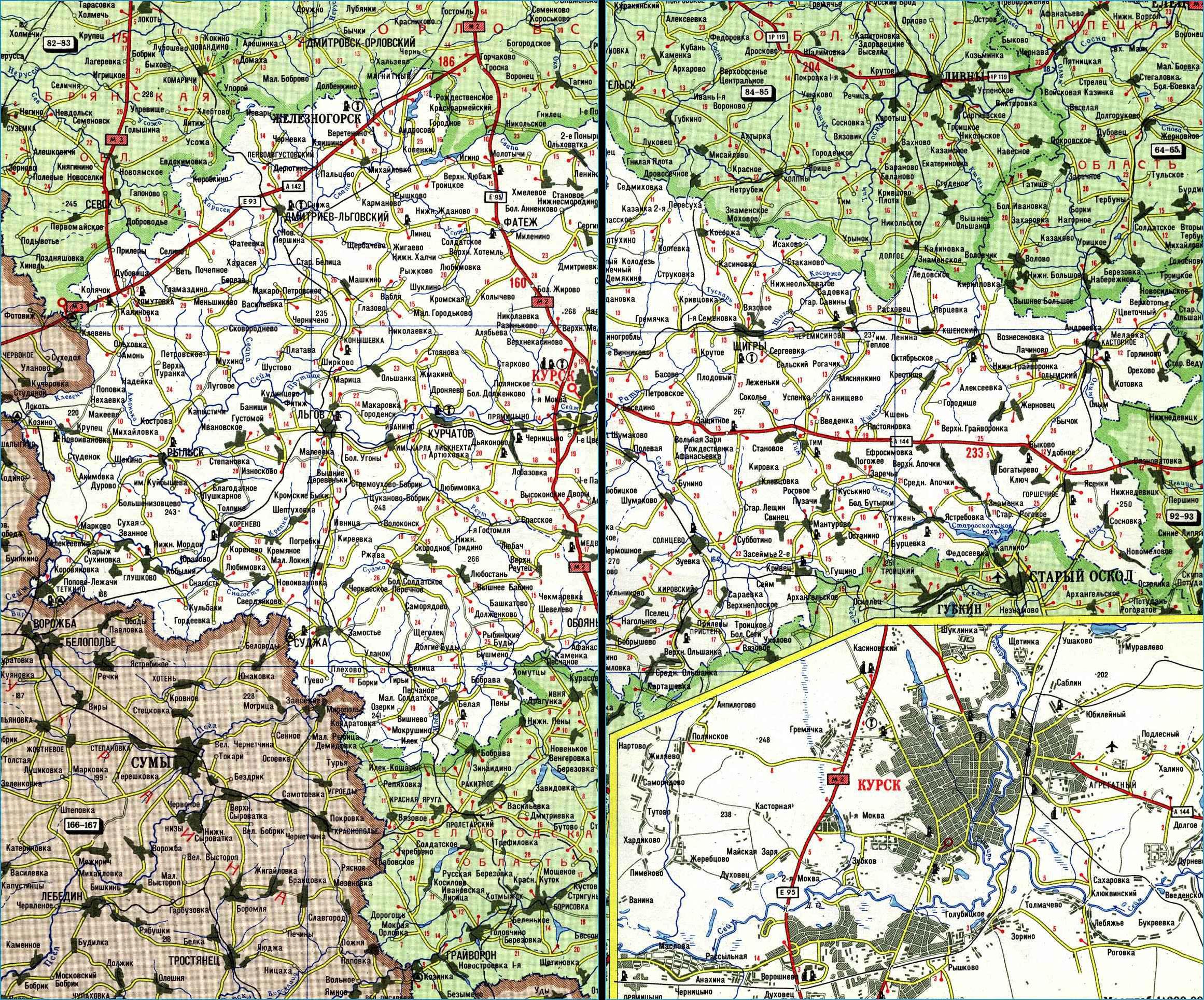 Карта автодорог Курской области