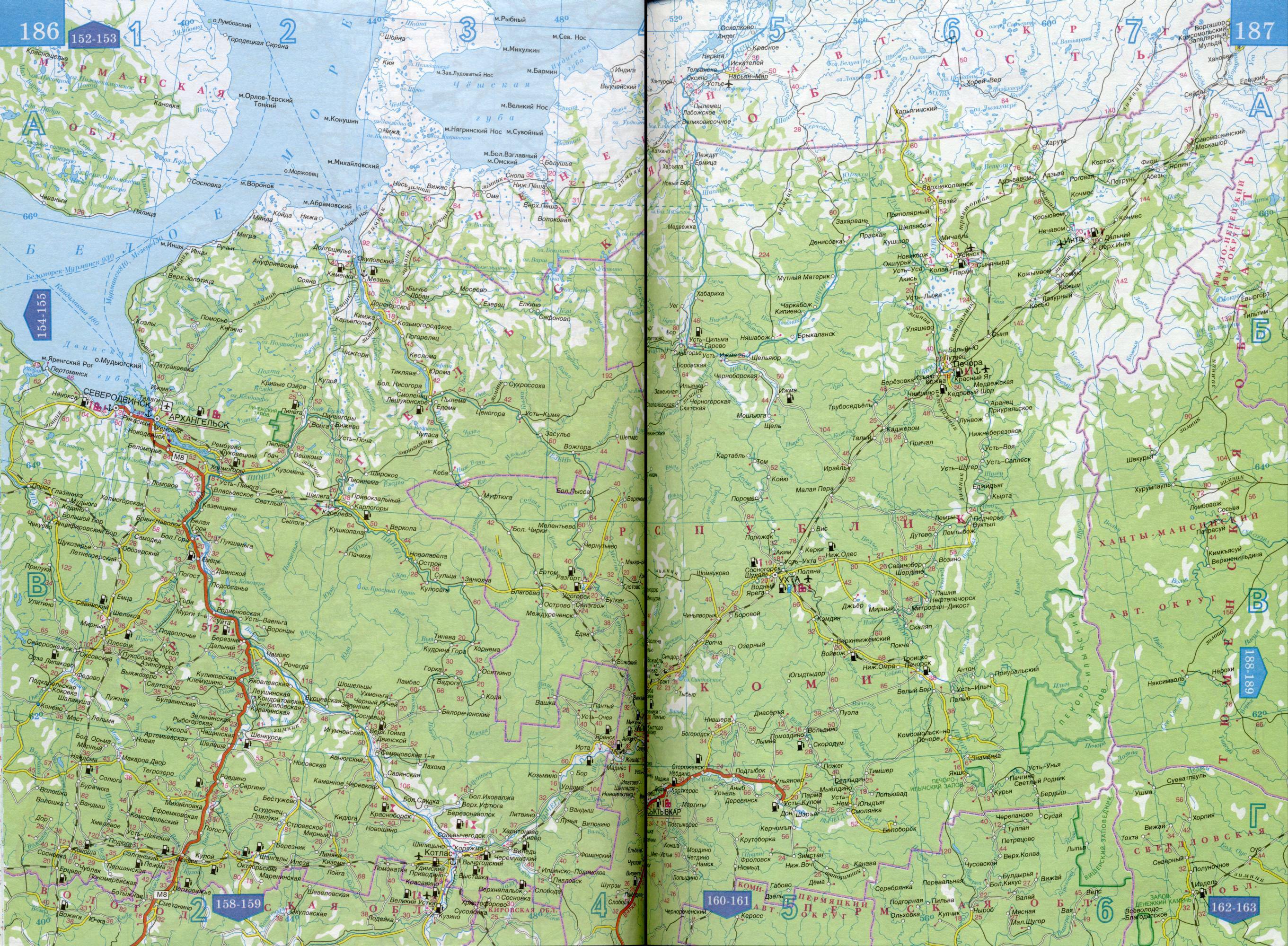 Карта автодорог Ненецкого автономного округа