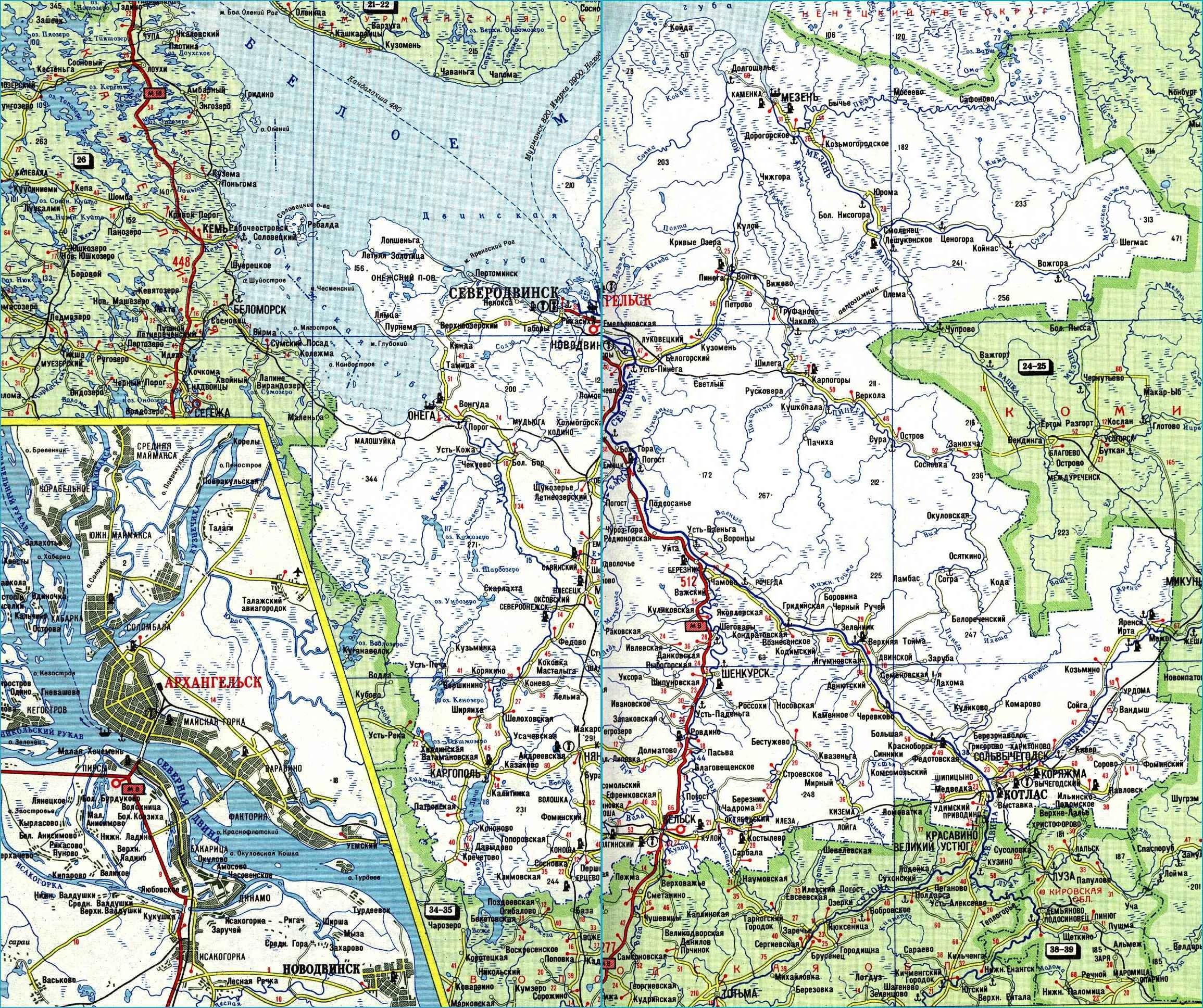 Карта автодорог Архангельской области