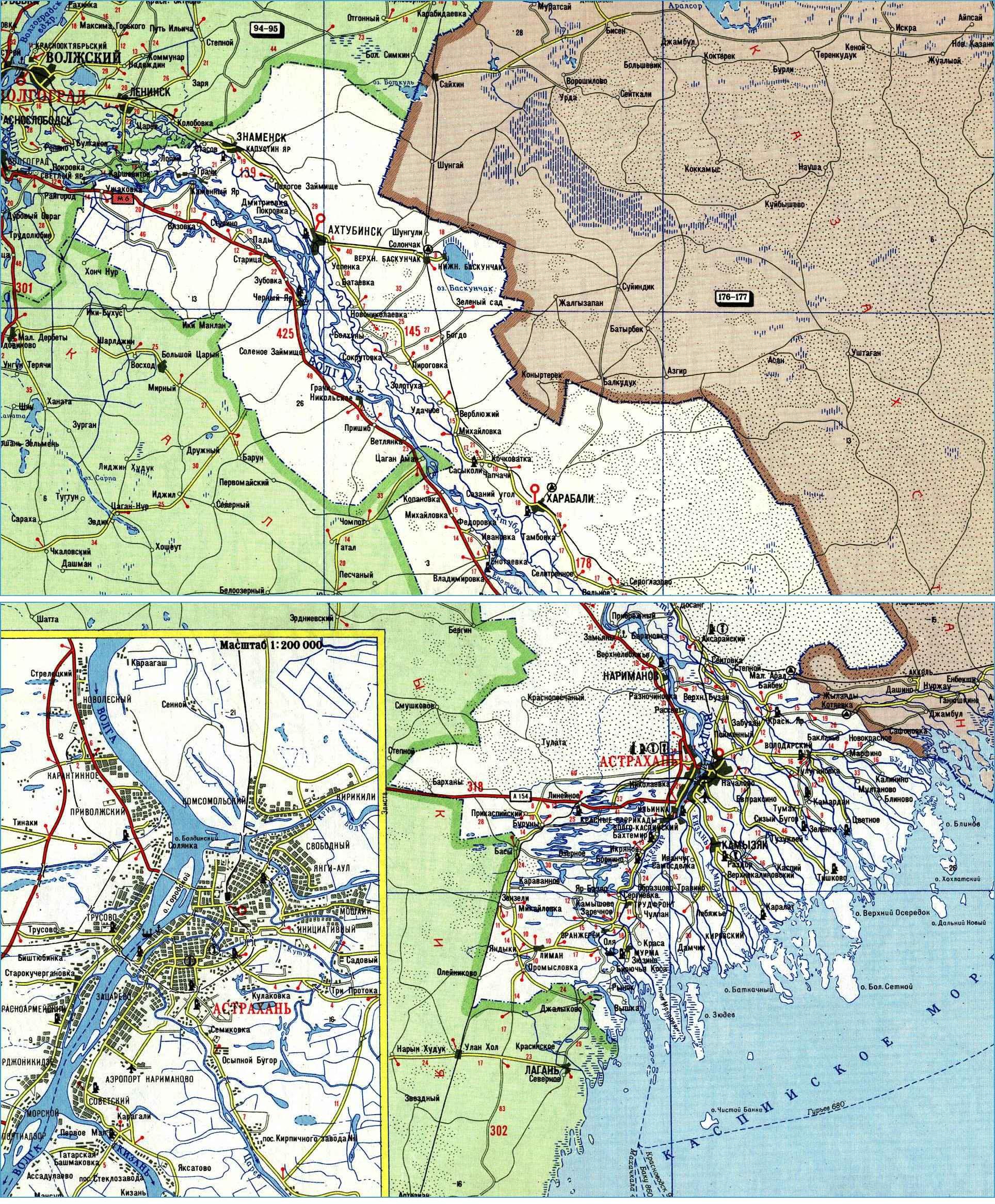 Карта автодорог Астраханской области
