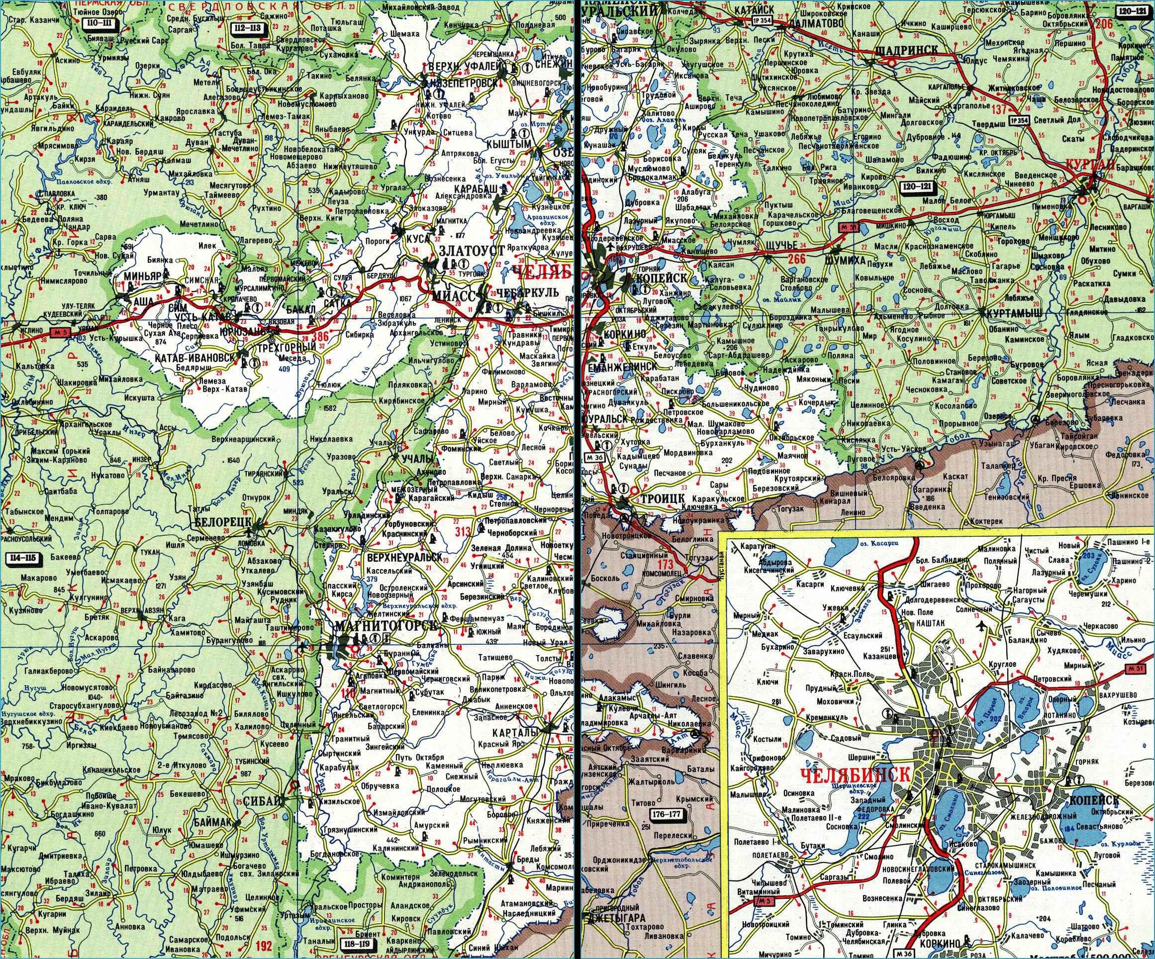 Карта автодорог Челябинской области