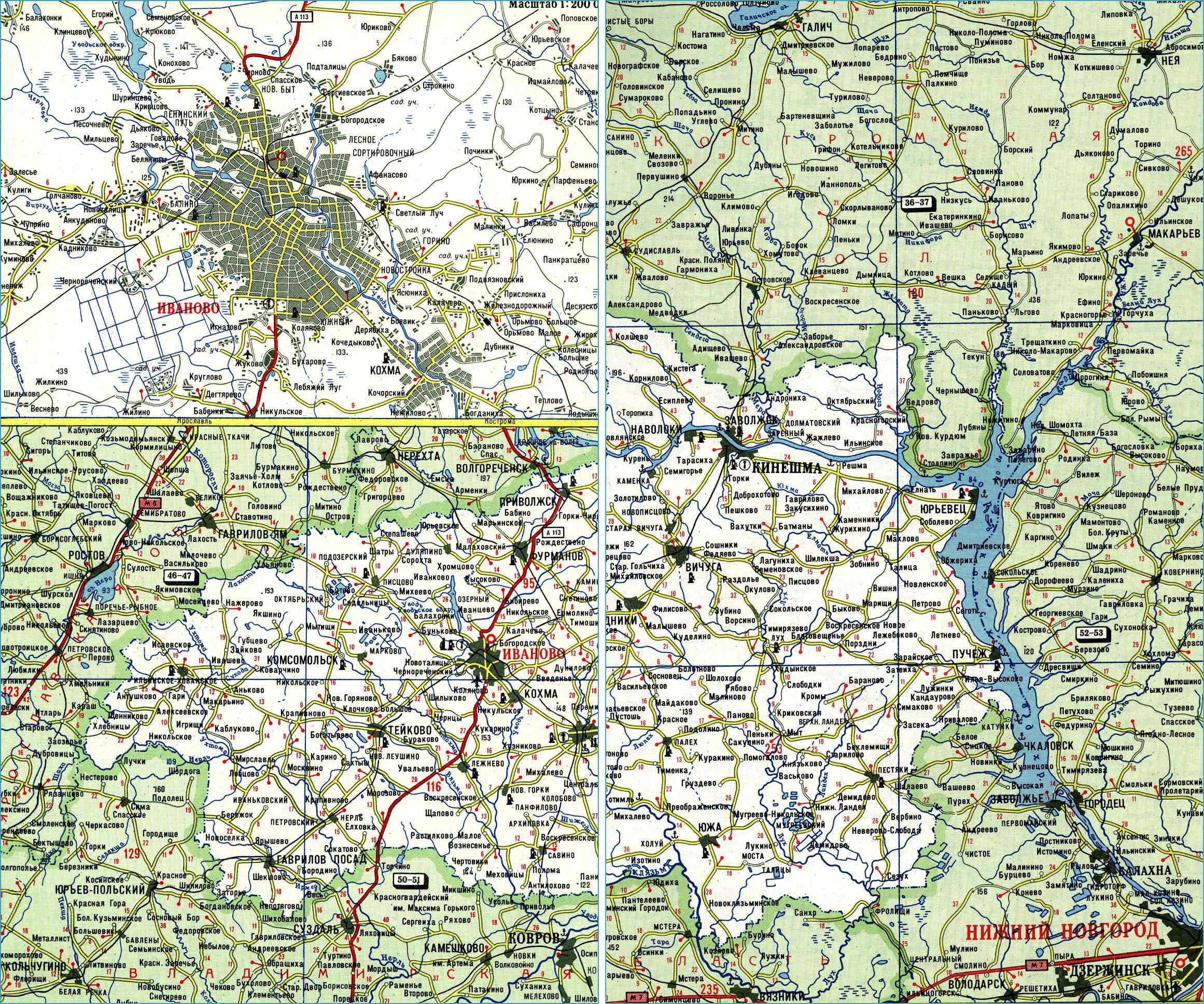 Карта автодорог Ивановской области