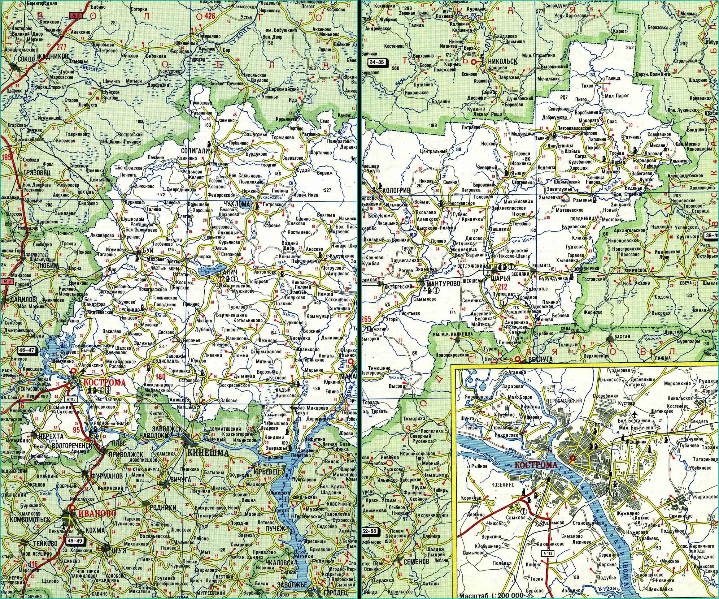 Карта автодорог Костромской области
