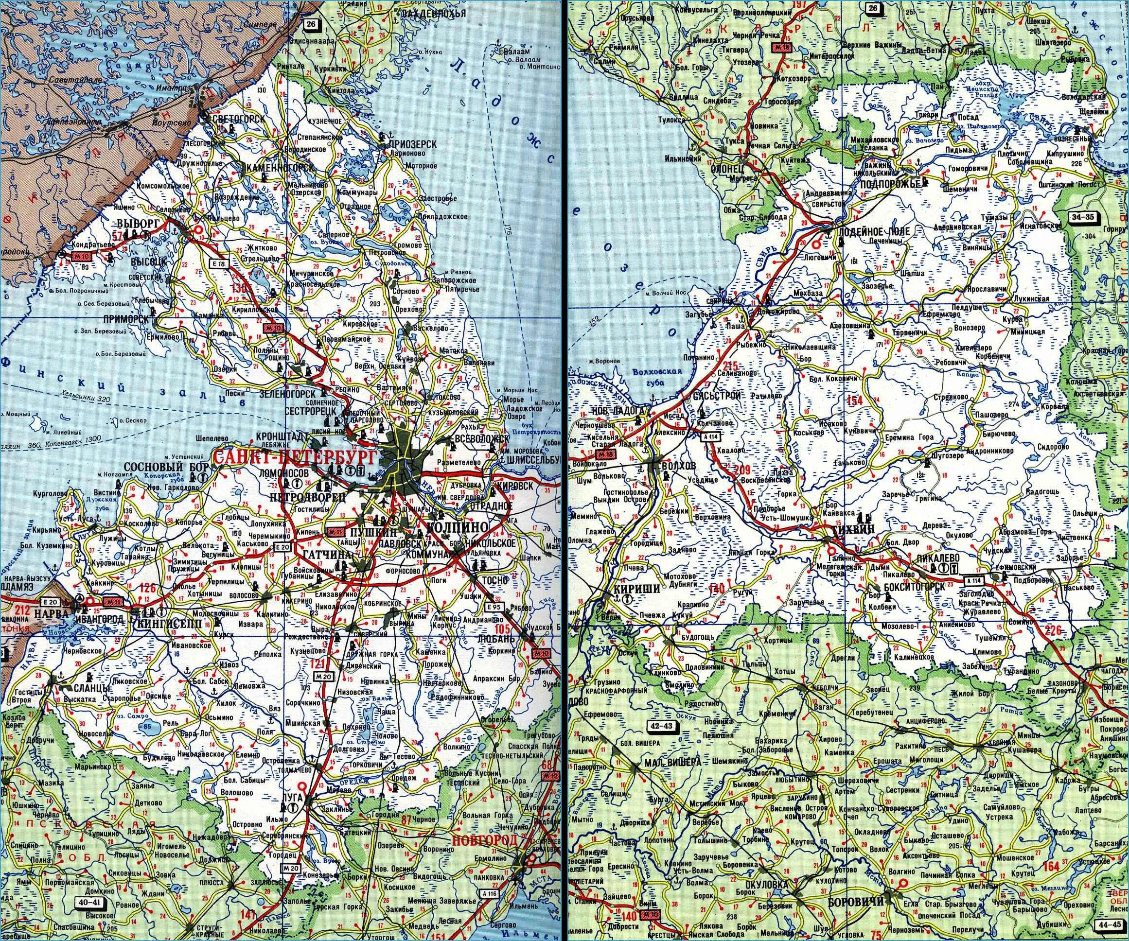 Карта автодорог Ленинградской области