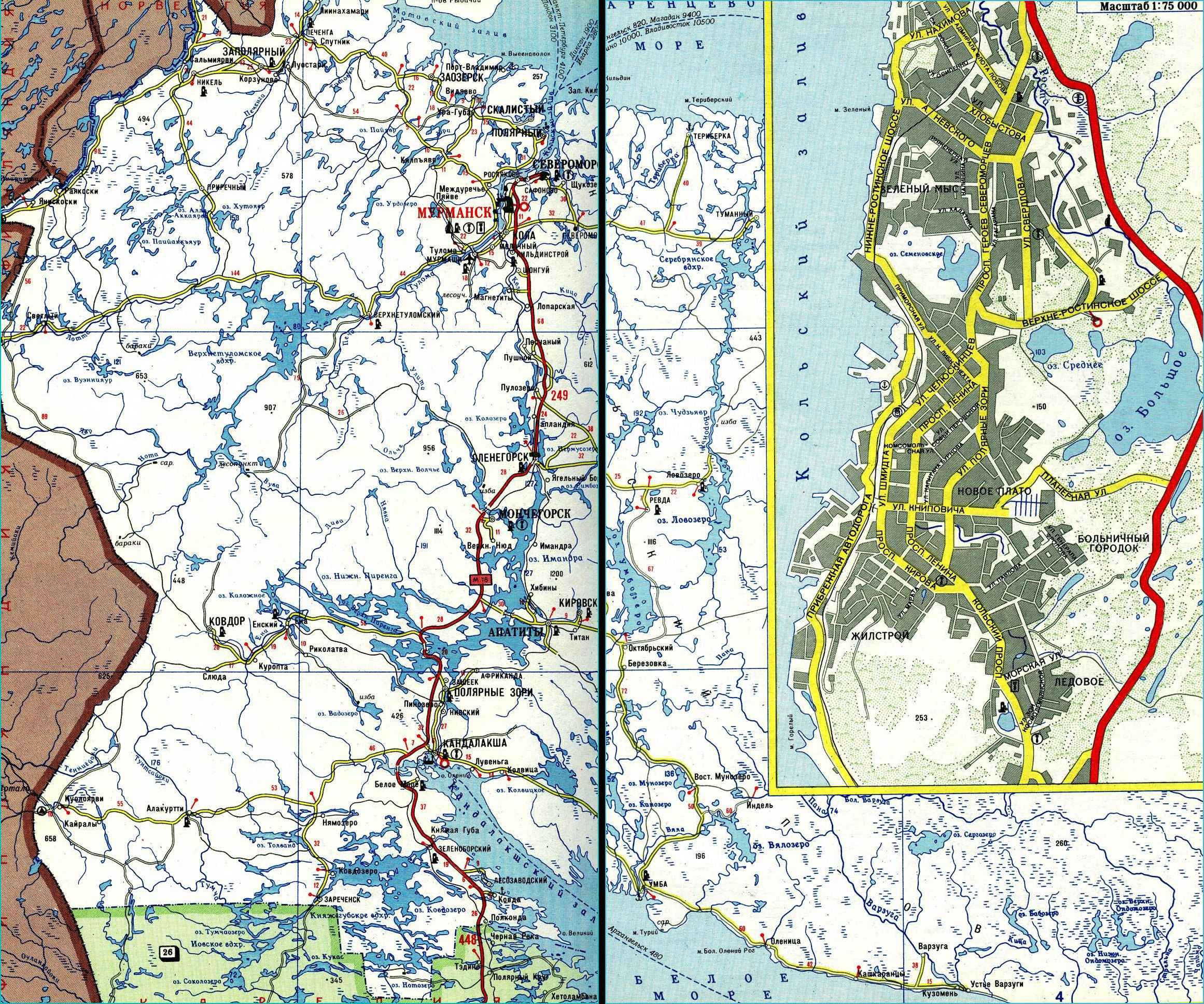 Карта автодорог Мурманской области