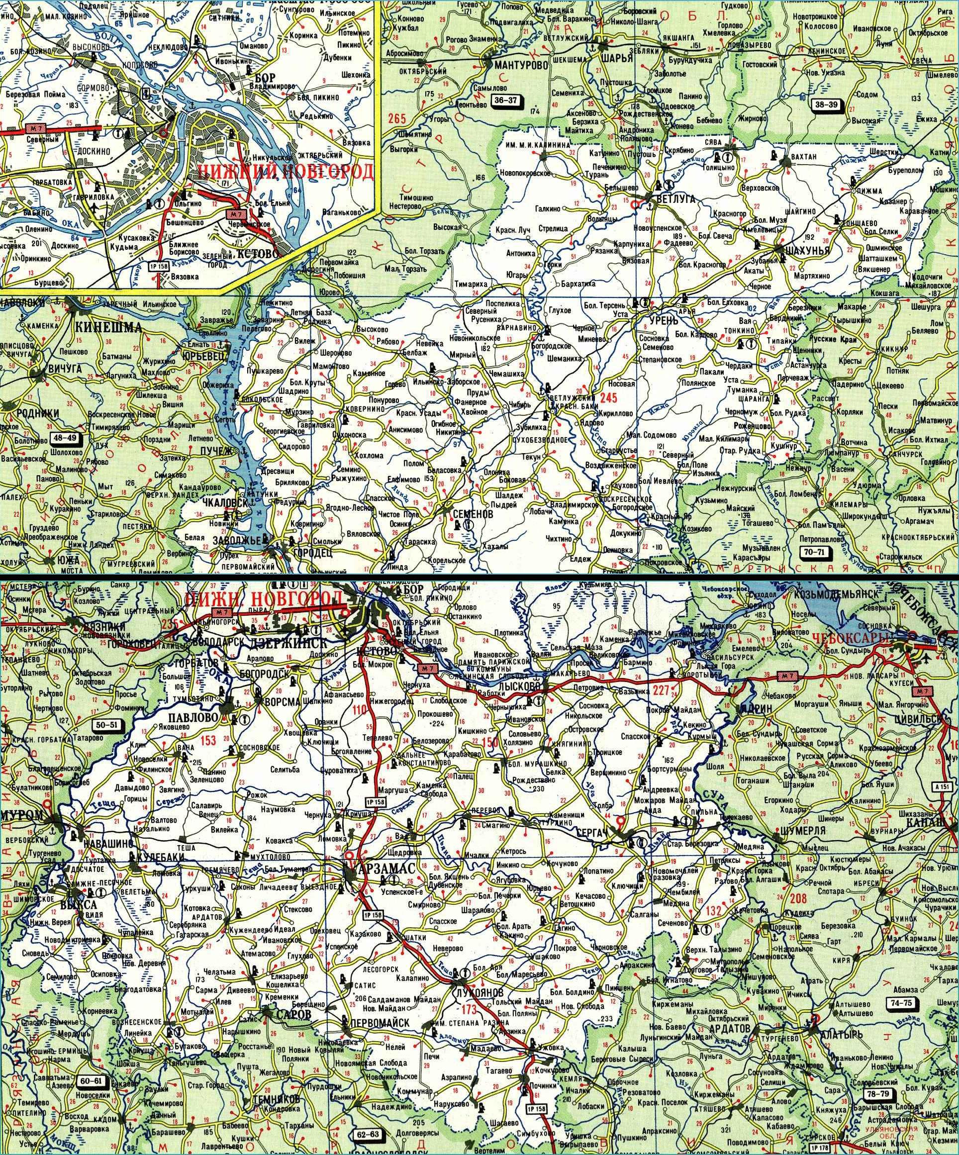 Карта автодорог Нижегородской области