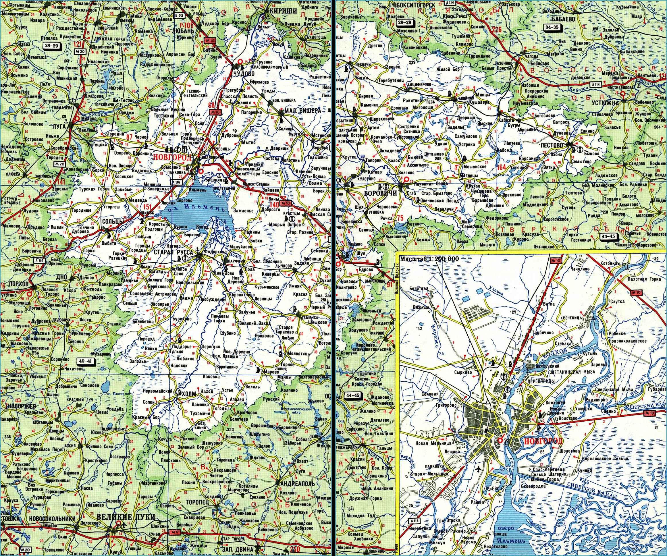 Карта автодорог Новгородской области