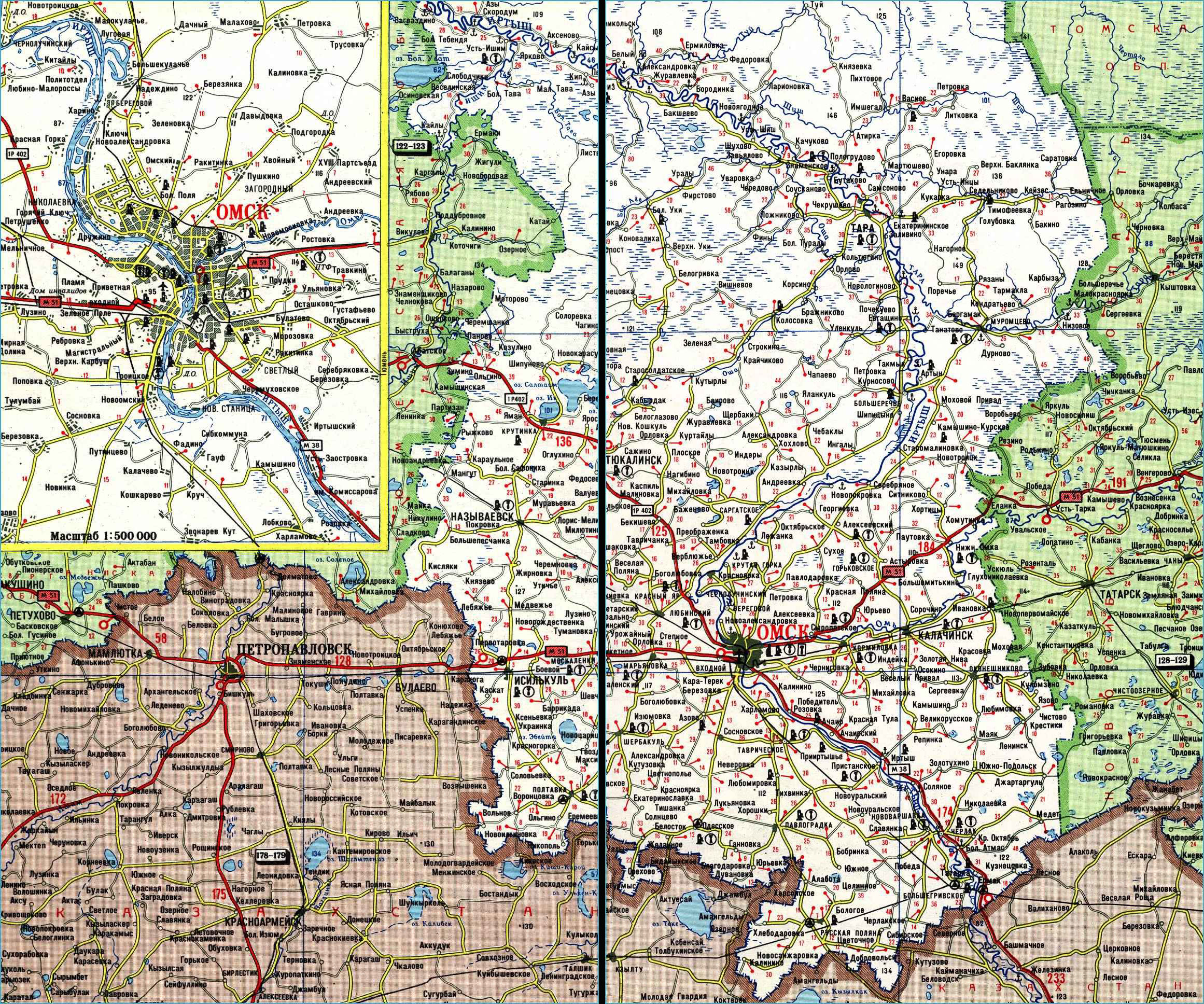 Карта автодорог Омской области