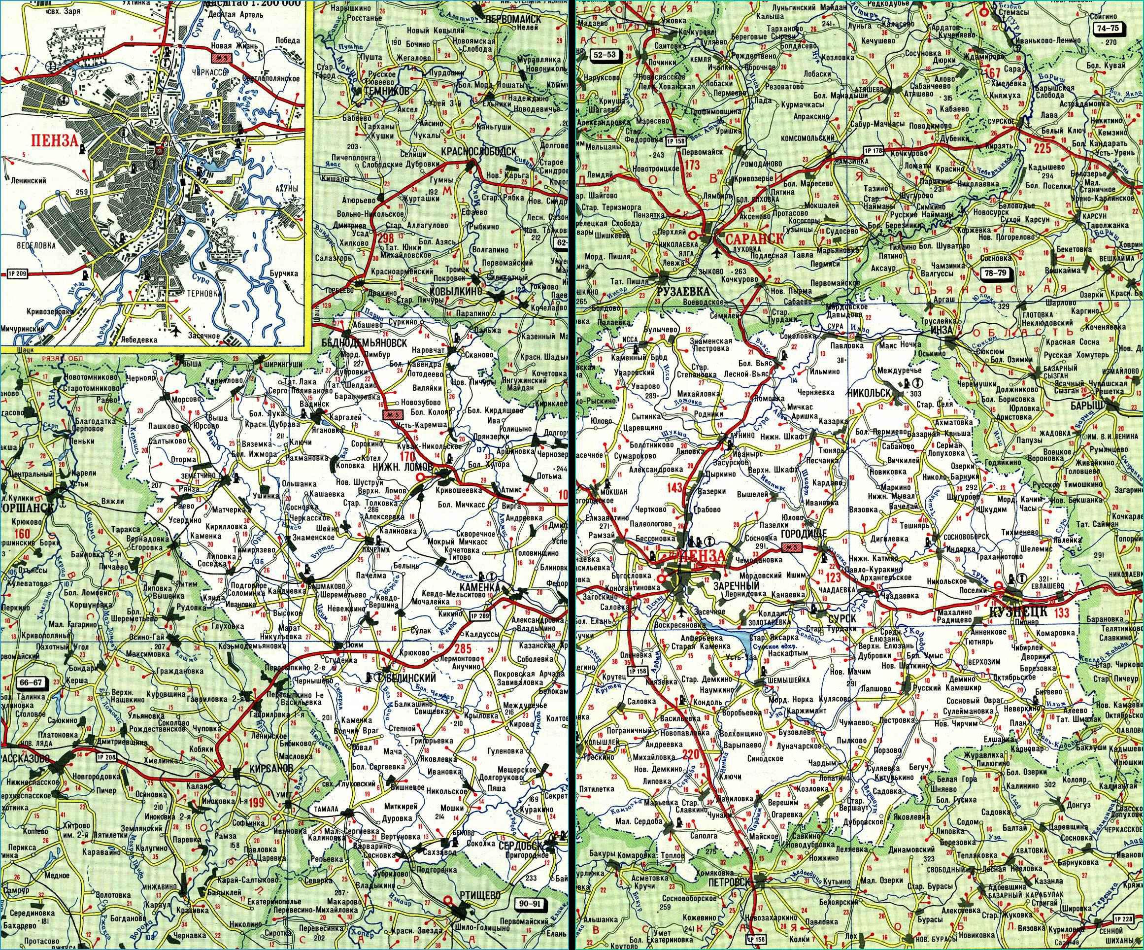 Карта автодорог Пензенской области
