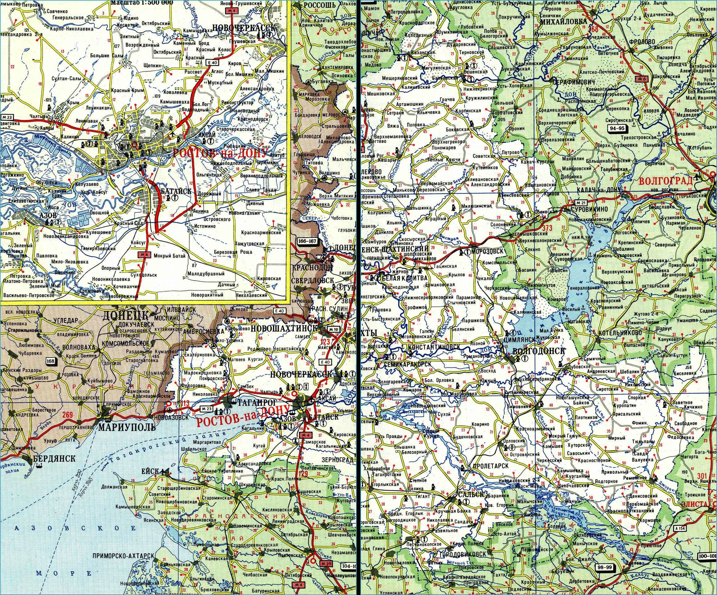 Карта автодорог Ростовской области