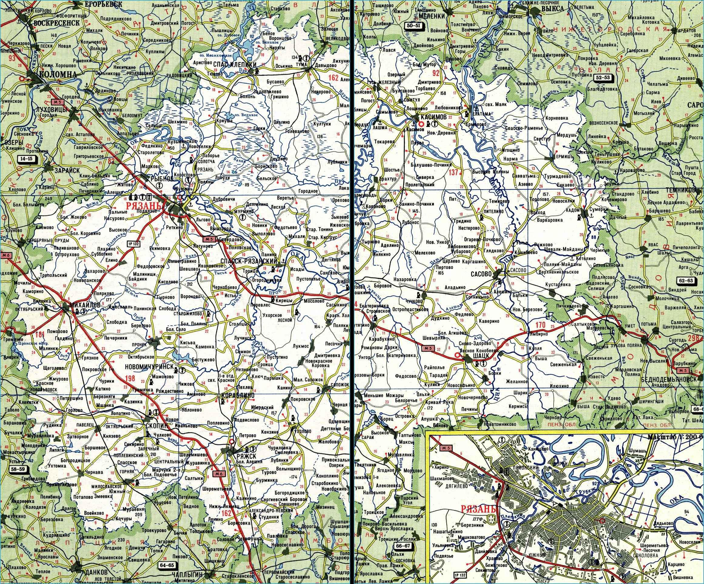 Карта автодорог Рязанской области