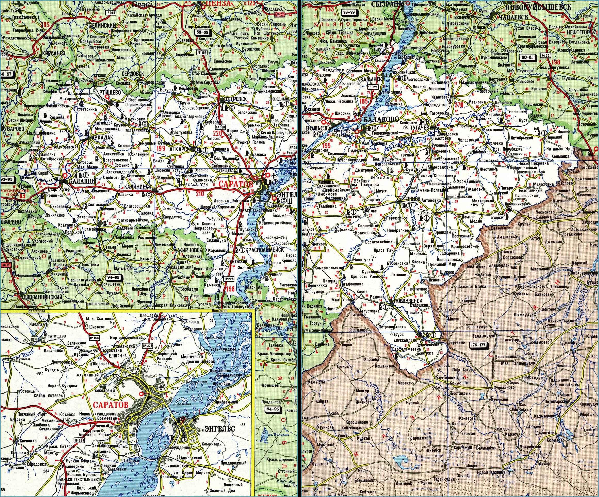 Карта автодорог Саратовской области