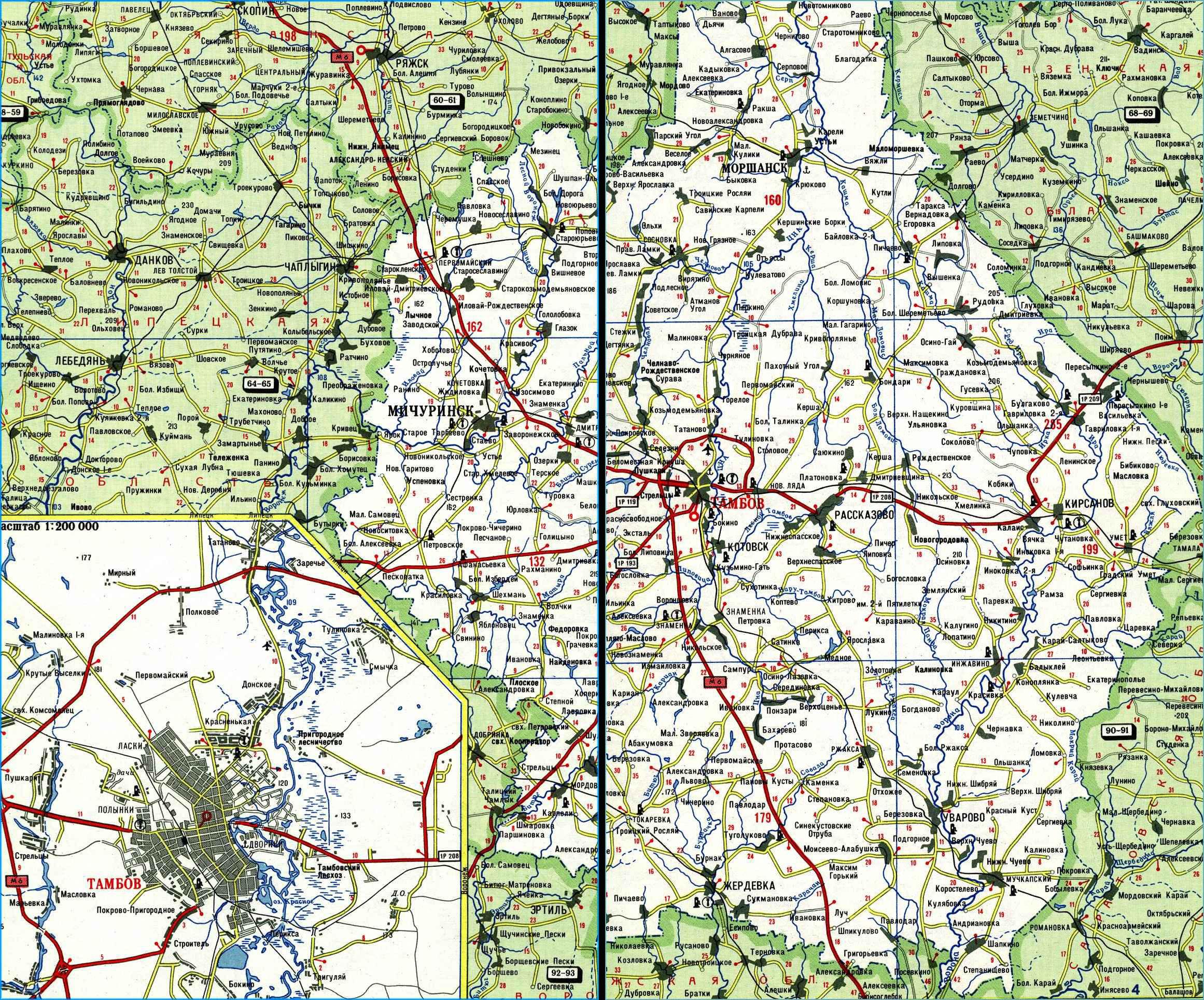Карта автодорог Тамбовской области