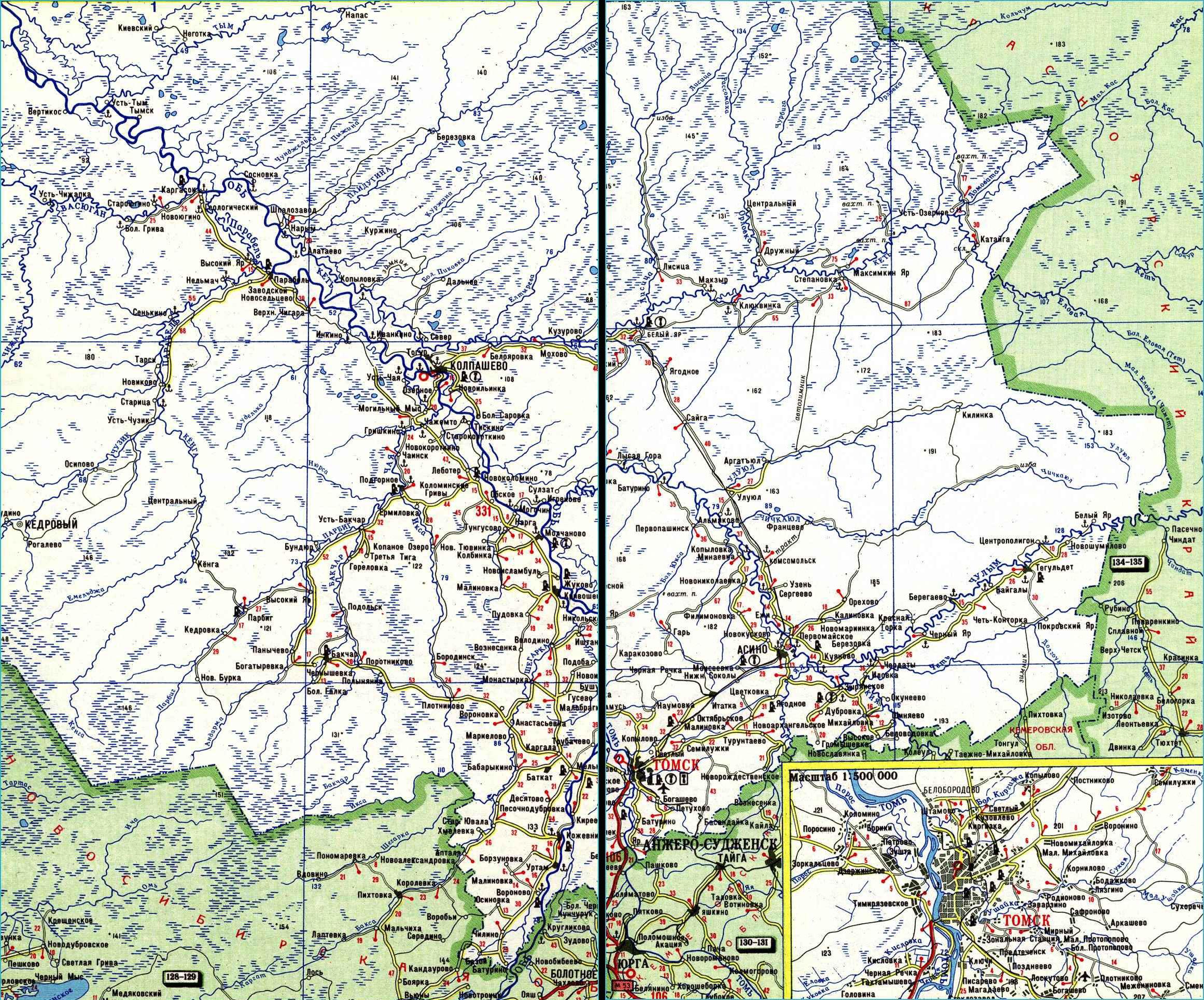 Карта автодорог Томской области