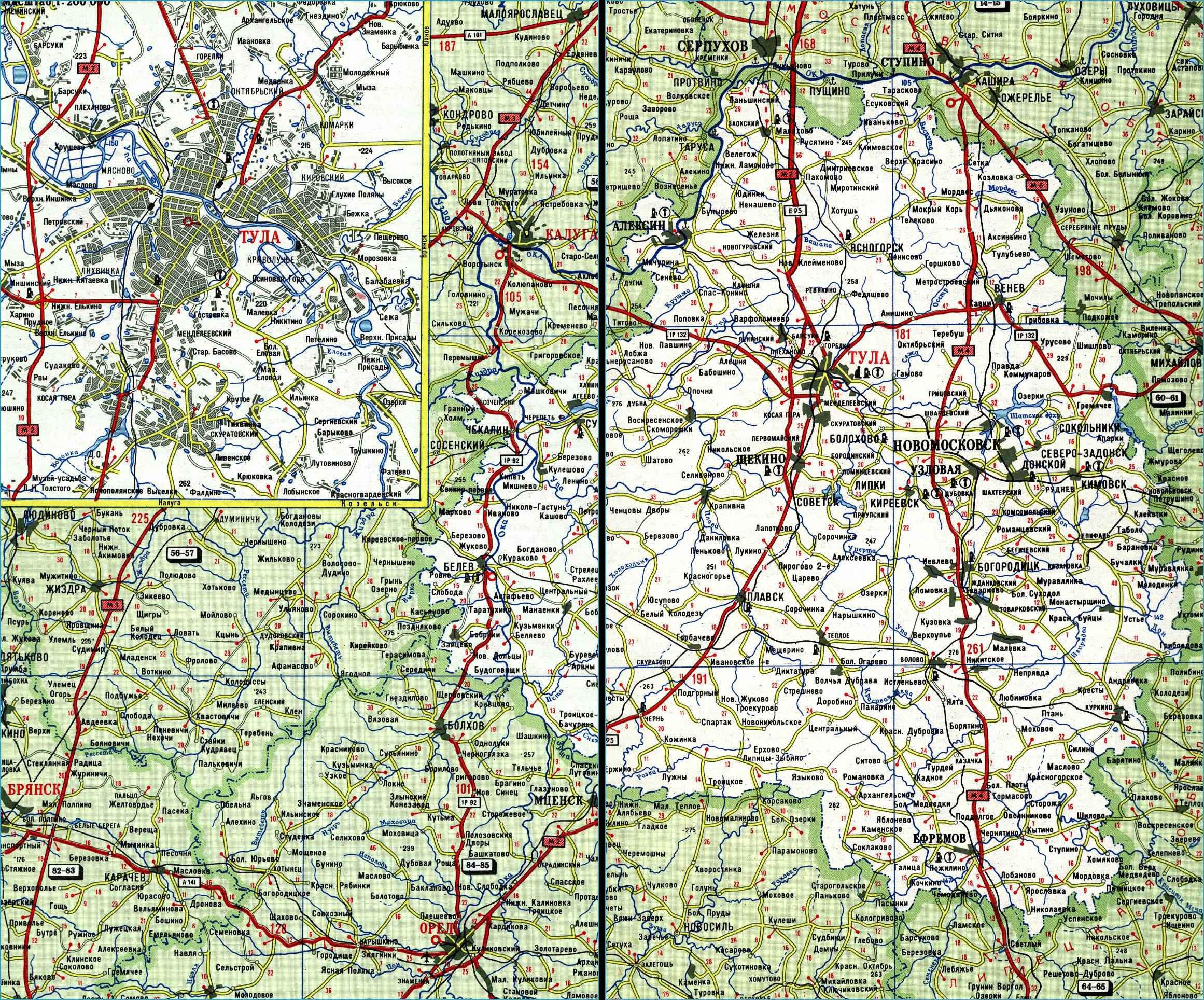 Карта автодорог Тульской области