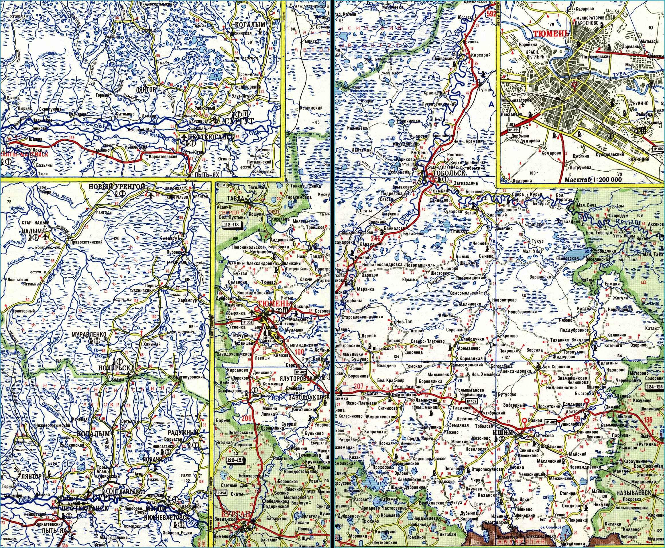 Карта автодорог Тюменской области