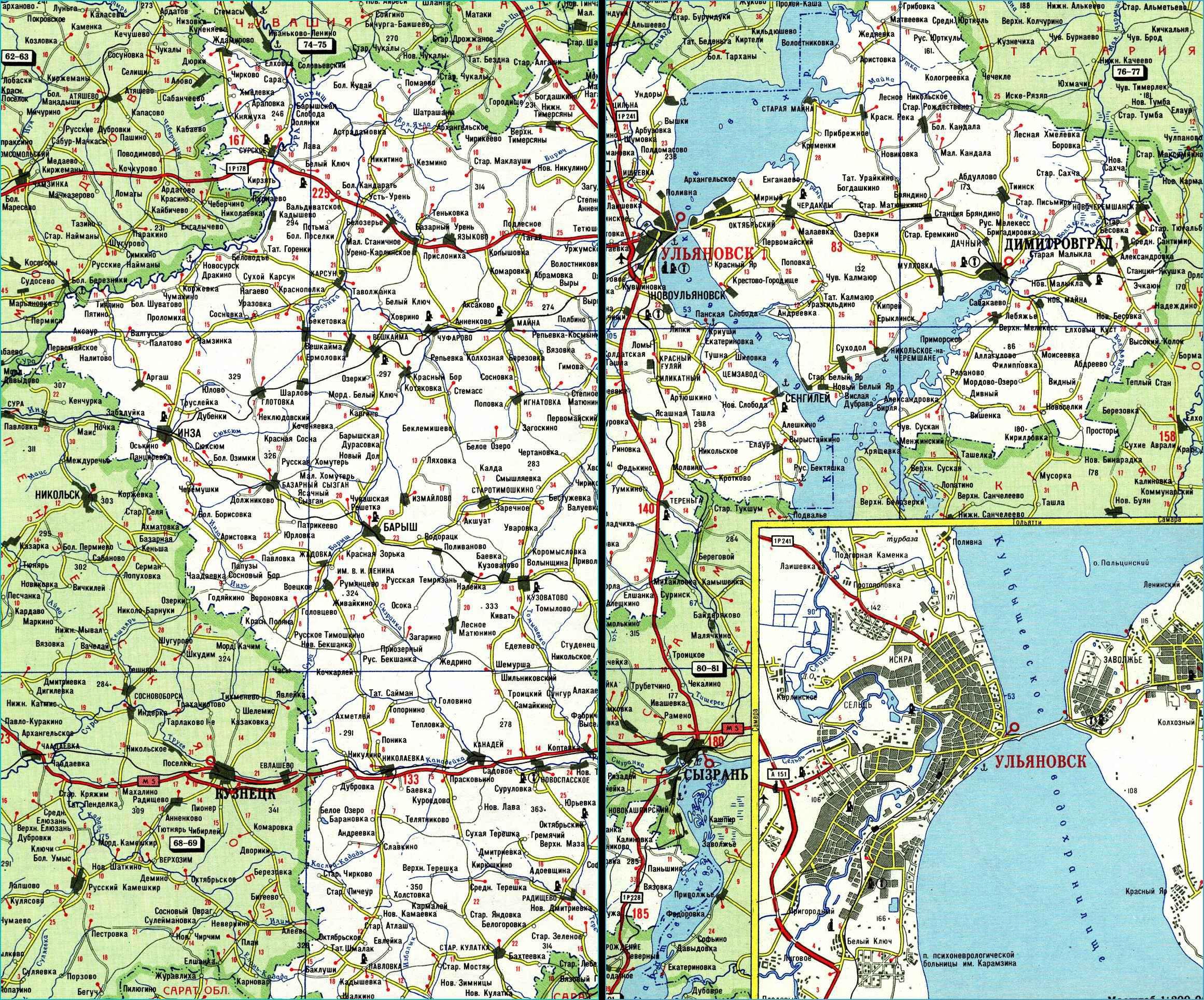 Карта автодорог Ульяновской области