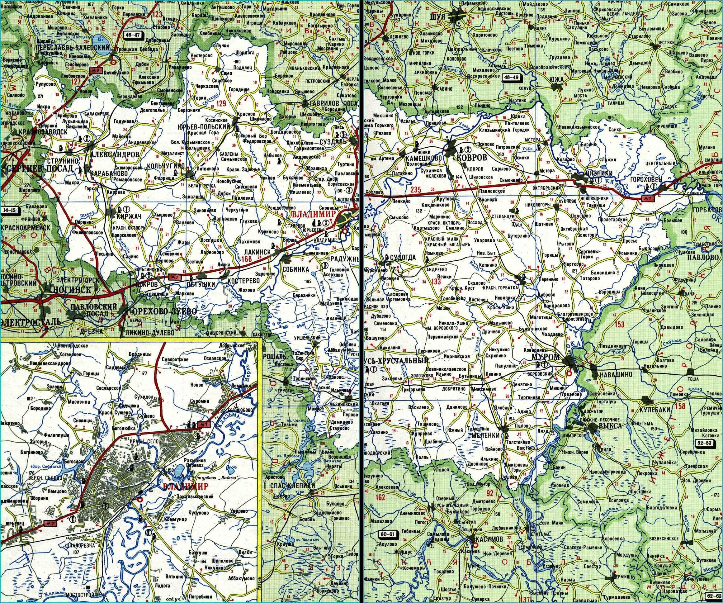 Карта автодорог Владимирской области