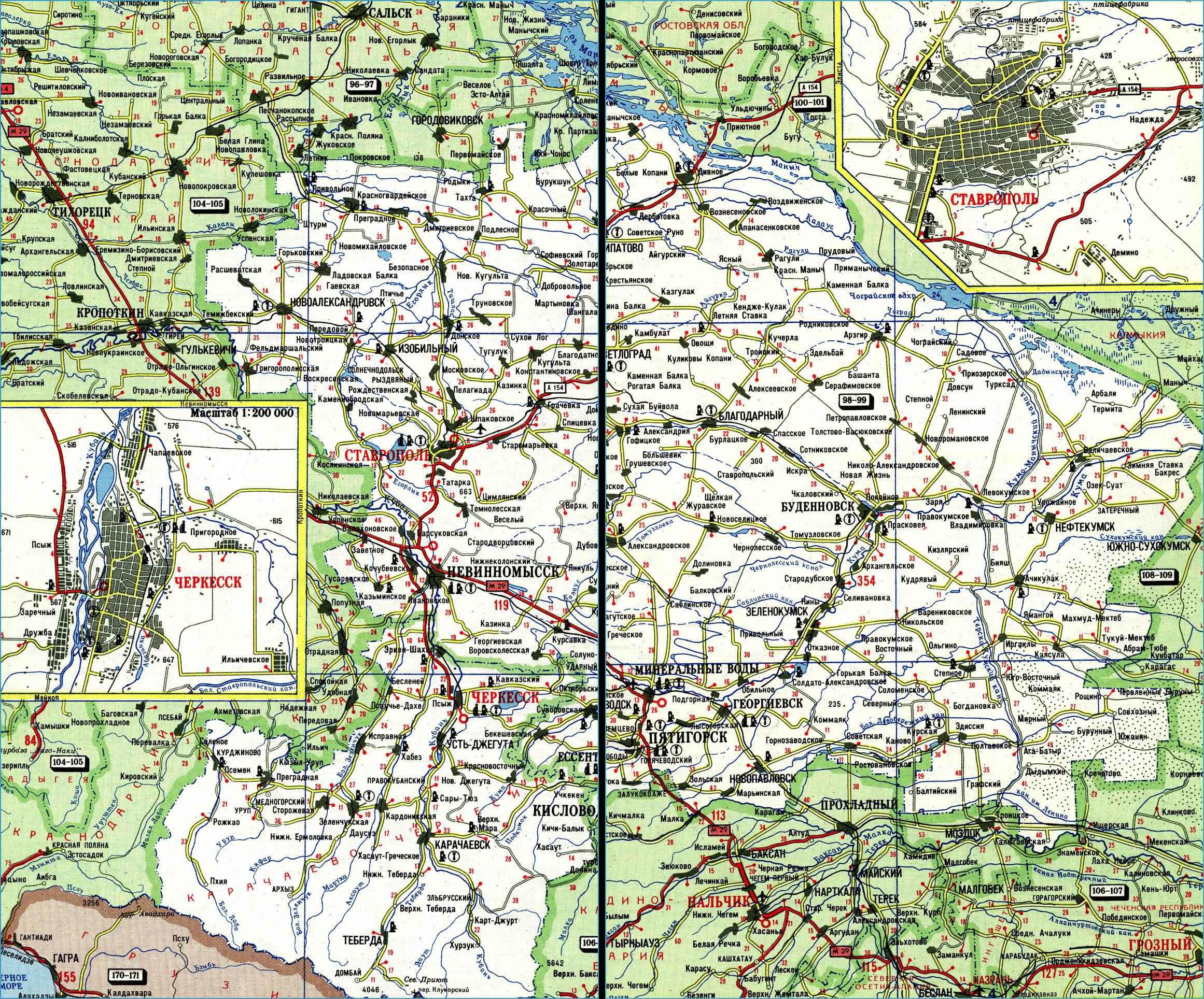 Карта автодорог Ставропольского края