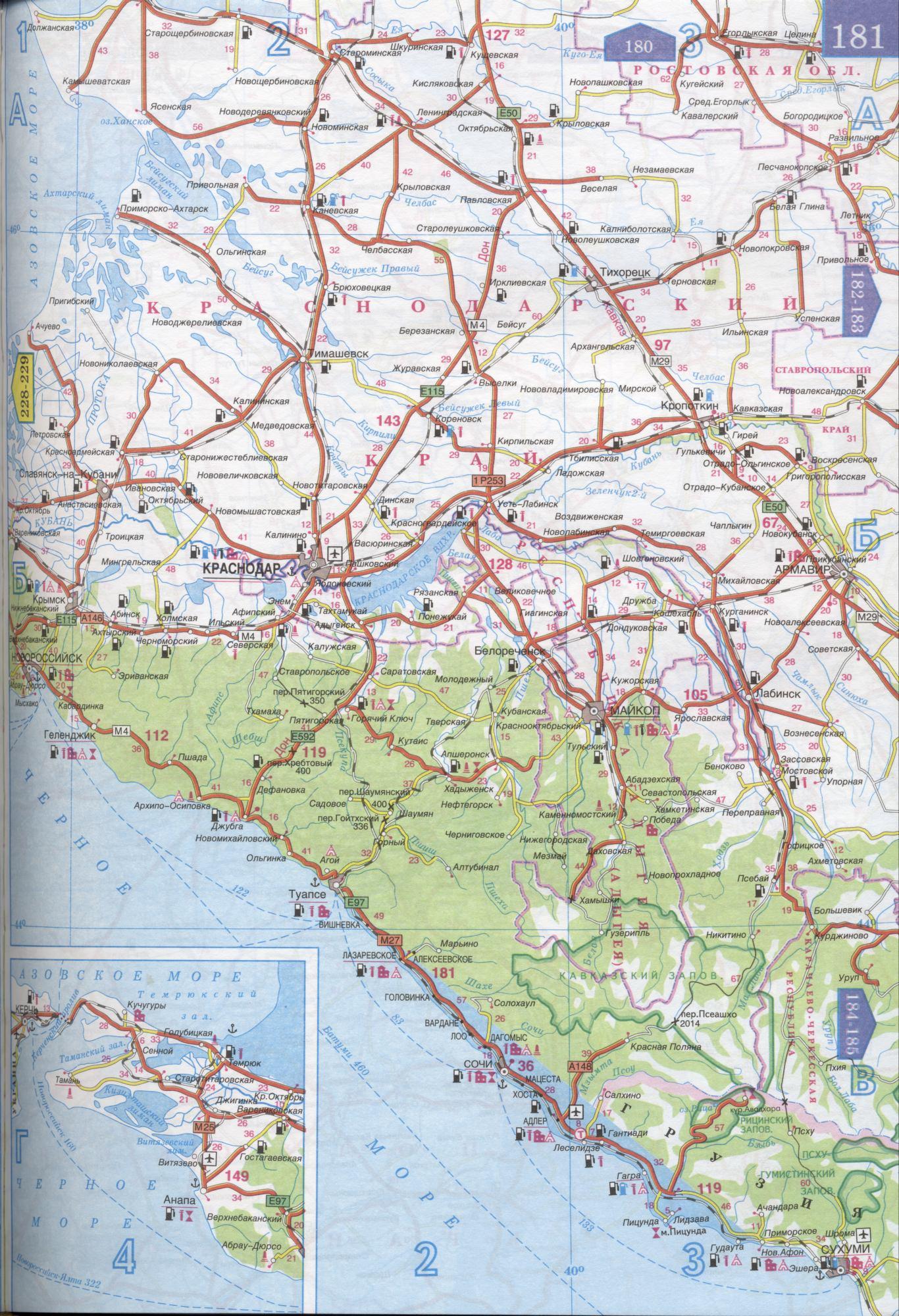 Карта автодорог Республики Адыгея