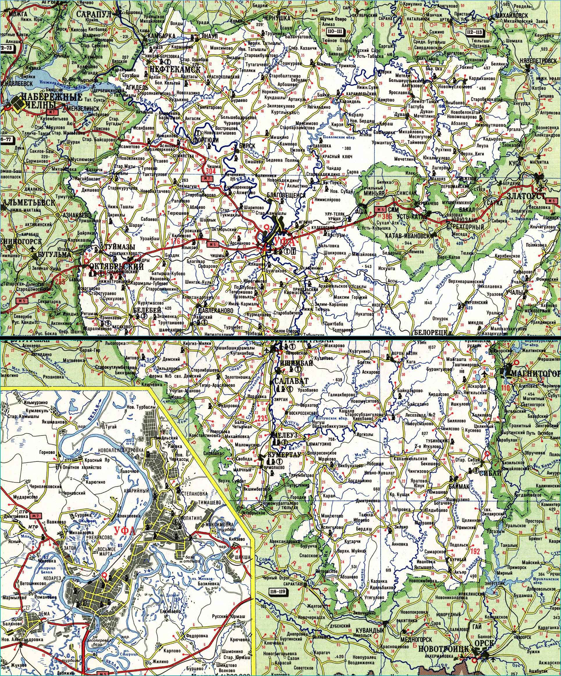 Карта автодорог Республики Башкортостан