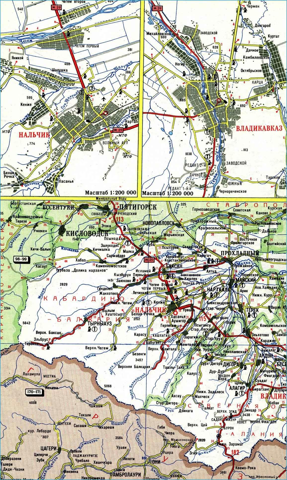 Карта автодорог Республики Кабардино-Балкарии