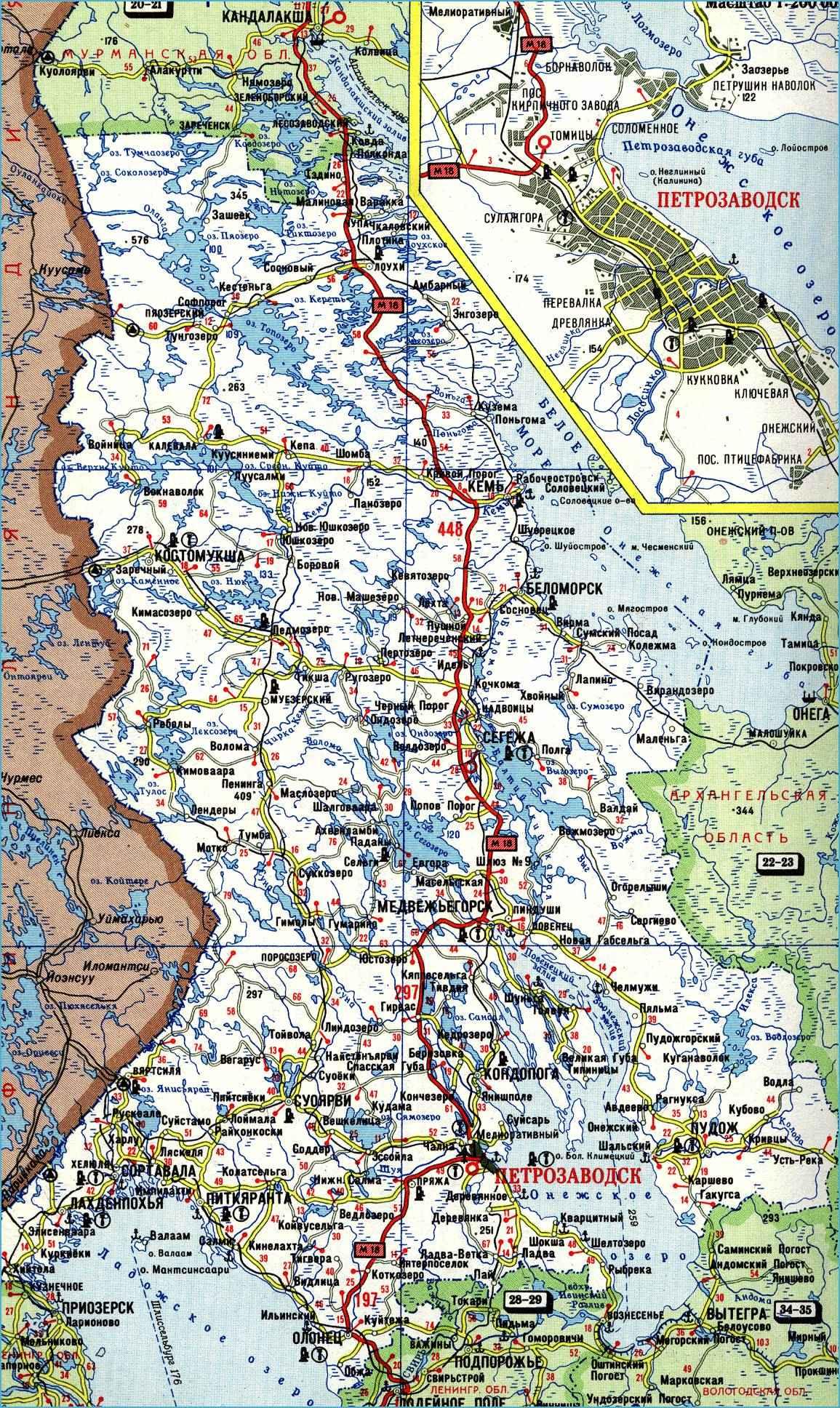 Карта автодорог Республики Карелия