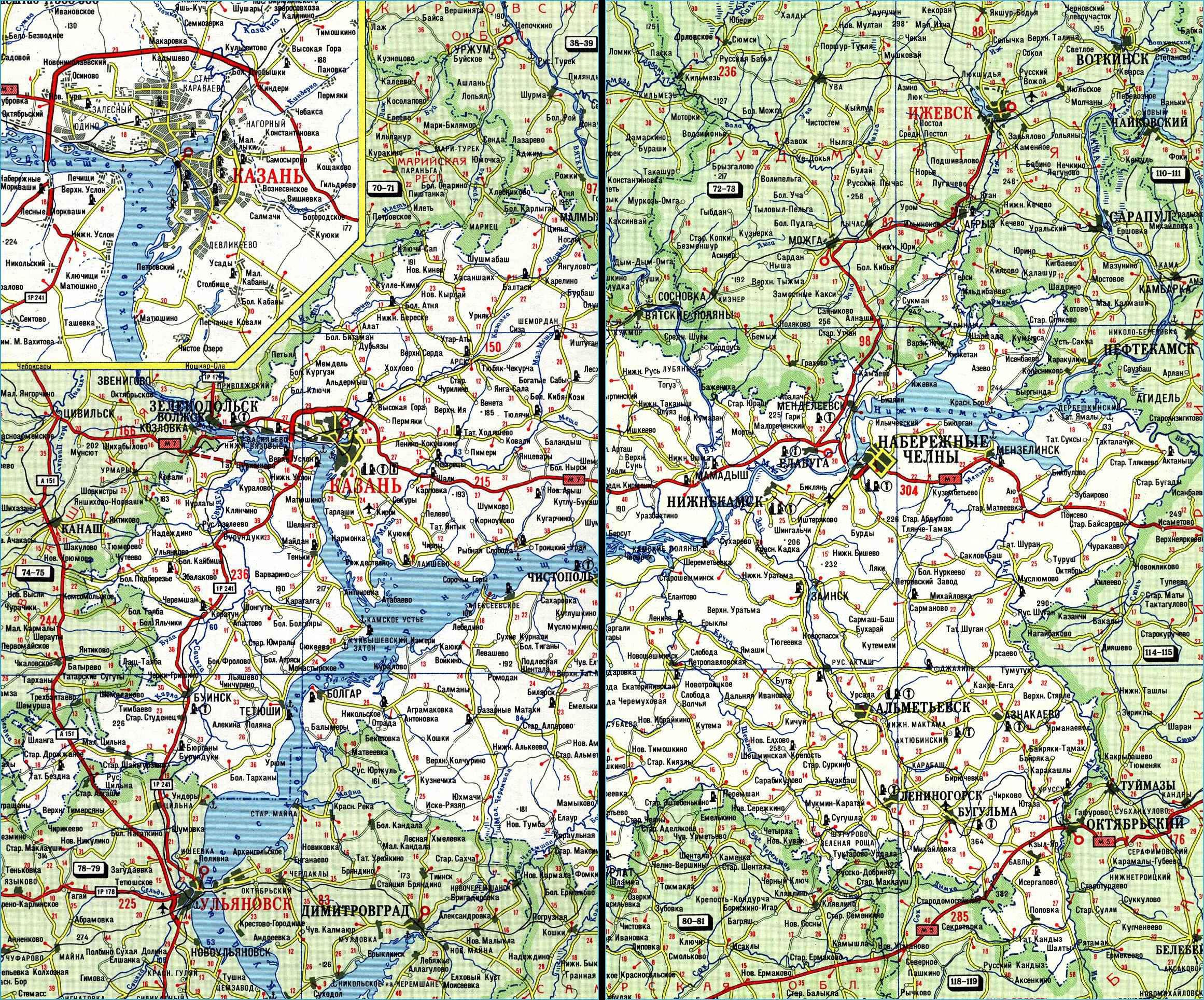 Карта автодорог Республики Татарстан