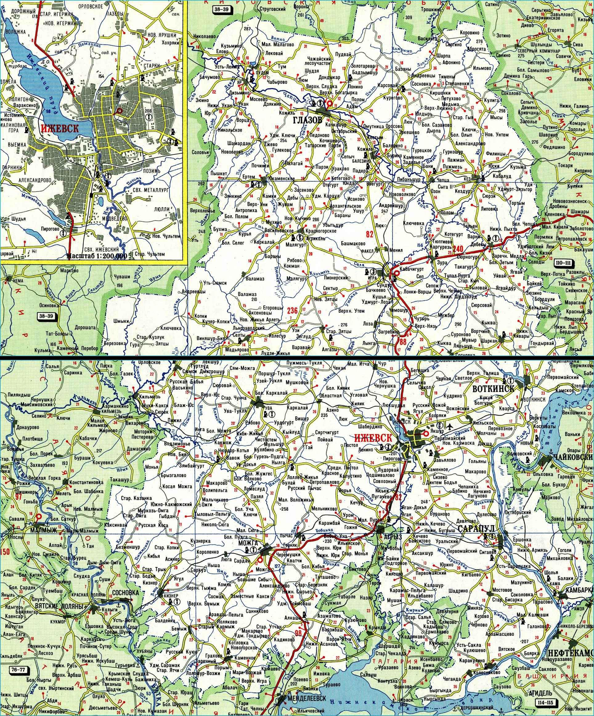 Карта автодорог Республики Удмуртия