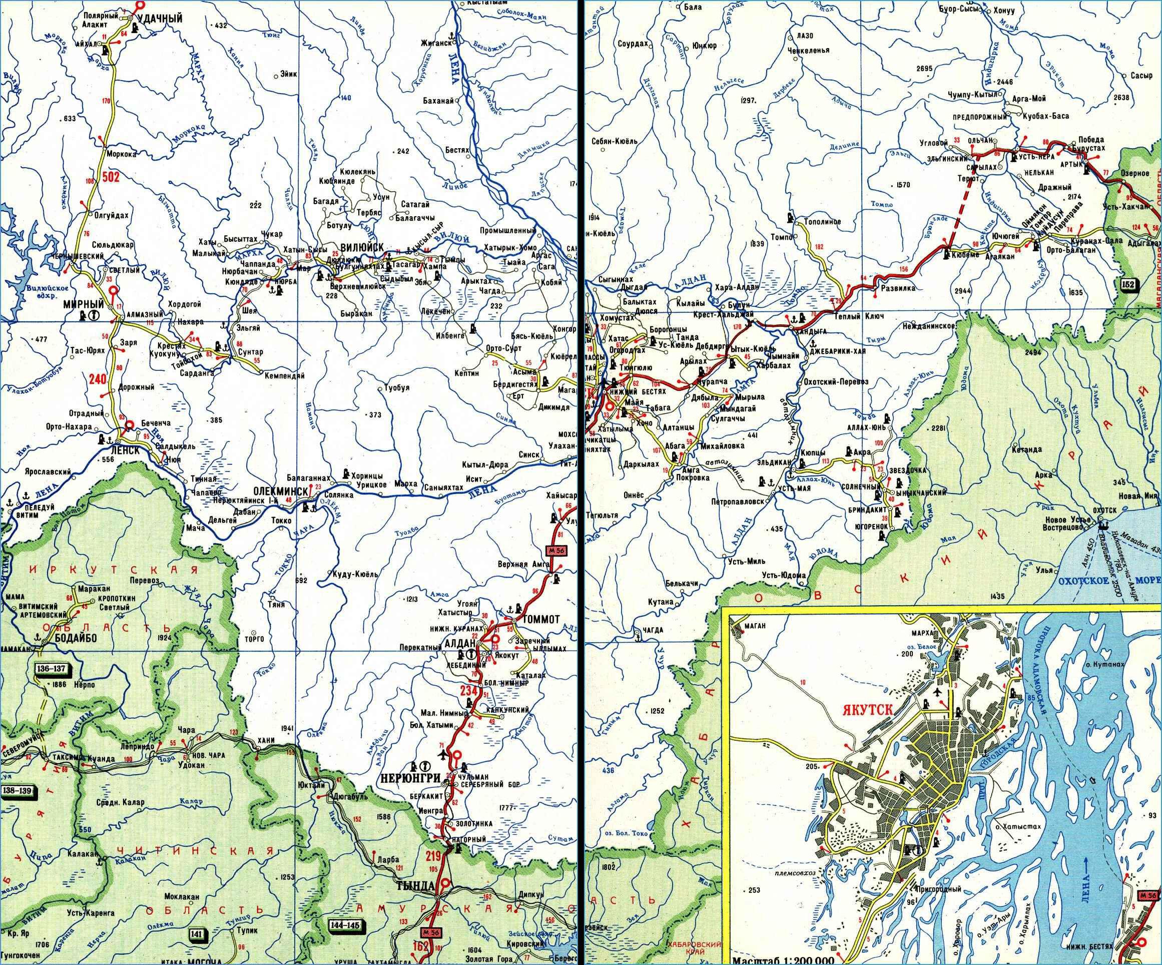 Карта автодорог Республики Саха (Якутия)