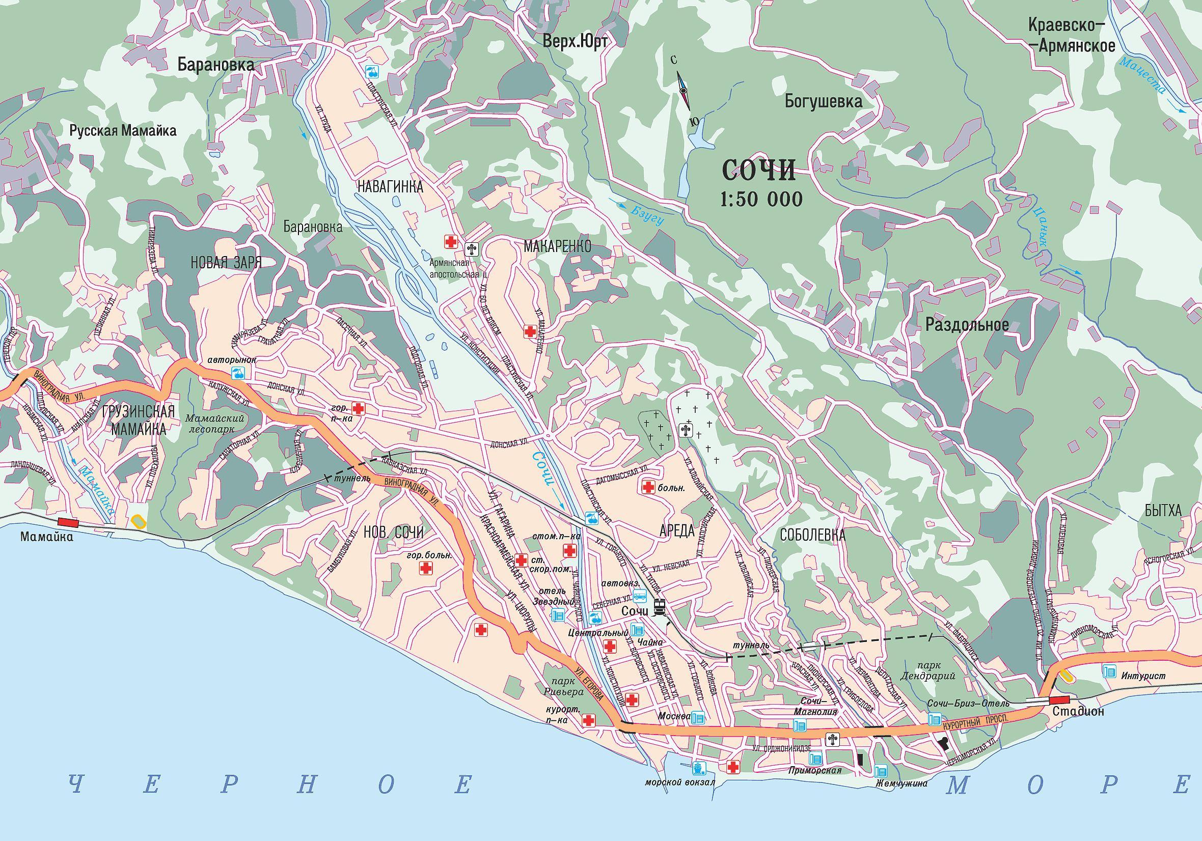 Карта автодорог города Сочи