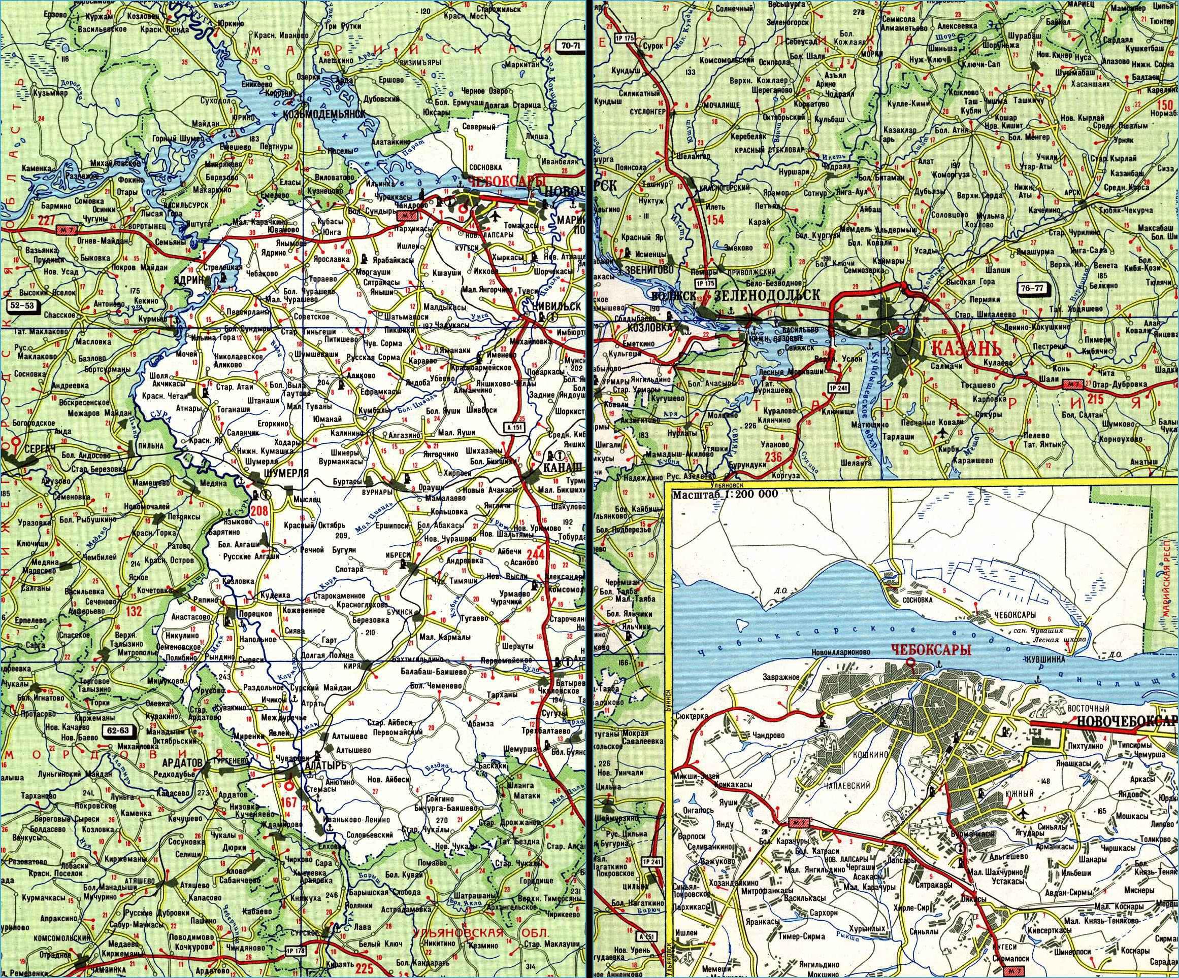 Карта автодорог Республики Чувашия