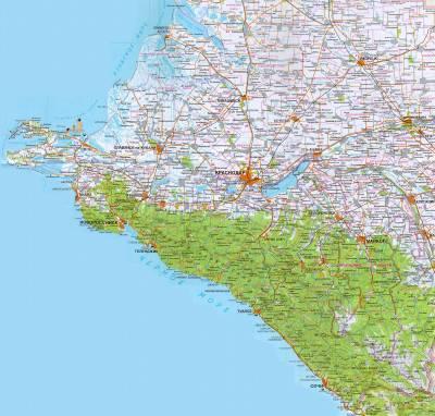 Карта автодорог Краснодарского края